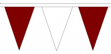 Maroon and White Traditional 20m 54 Flag Polyester Triangle Flag Bunting